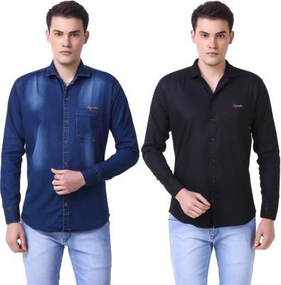 Cavenders Men's Solid Casual Slim Shirt(Pack of 2)