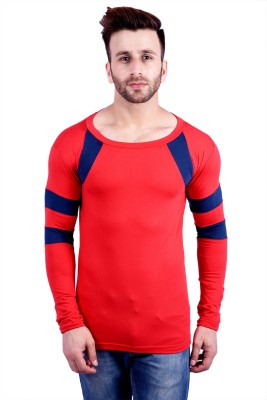 JG FORCEMAN Printed Men V-neck Red T-Shirt