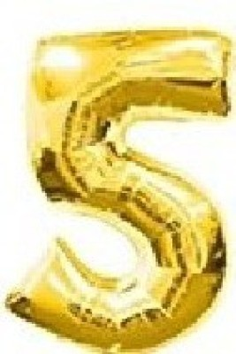 Making Memories Solid Digit 5 Bubble Balloon(Gold, Pack of 1)