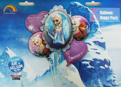Party Favors Solid Frozen_005 Balloon Bouquet(Blue, Pack of 5)