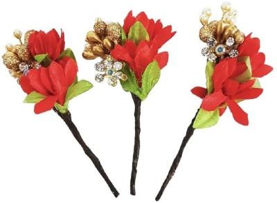 Majik Flowers Hair Juda Pins / Accessories Women & Girls Party Wear (Red) Hair Accessory Set(Red) Flipkart