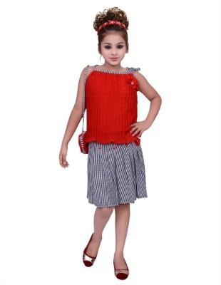 Gungun Pari Girls Party(Festive) Top Skirt(Red)
