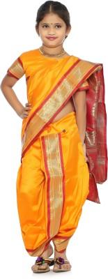 Bhartiya Paridhan Embellished Paithani Art Silk Saree(Orange)  available at flipkart for Rs.999
