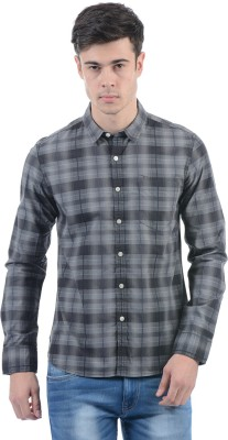 Flying Machine Men Checkered Casual Grey Shirt at flipkart