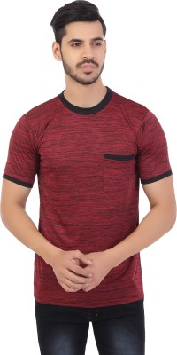 Styleinsta Solid Men's Round Neck Maroon T-Shirt