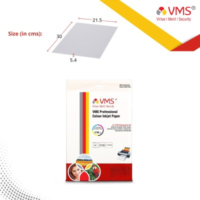 VMS Professional Colour Inkjet Paper Resin Coated Semi Glossy Inkjet Photo Paper A4 260 GSM (20 Sheets) Unruled A4 Inkjet Paper(Set of 1, White)