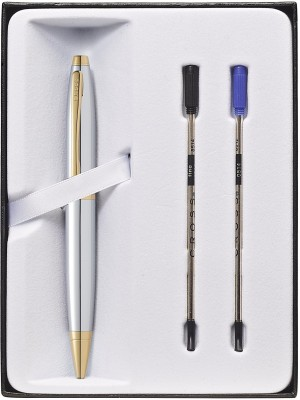 Cross Cross Calais Chrome and Gold plate Ballpoint Pen & 2 Refills in Cross Gift Box (AT0112-15) Ball Pen