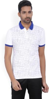 Arrow New York Printed Men's Polo Neck White, Blue T-Shirt