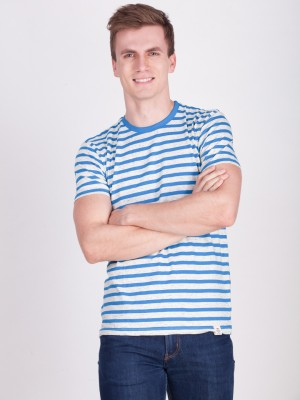 FORCE NXT Striped Men Round or Crew Blue T-Shirt