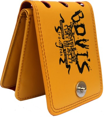 bovi Men Yellow Artificial Leather Wallet 10 Card Slots