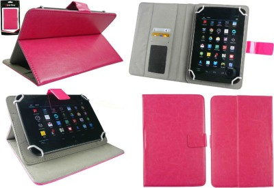 Emartbuy Wallet Case Cover for Samsung Galaxy Tab 4 8.0 T330 / T331 / T335(Hot Pink Plain, Artificial Leather)