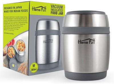 Home Puff Double Wall Vacuum Insulated  Stainless Steel 380 ml Flask Pack of 1, Silver, Grey