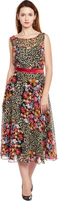 Trendy Divva Women Fit and Flare Multicolor Dress