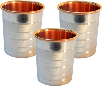 Indian Craft Villa  Pack of 3  Handmade Set Of 3 High Quality Solid Copper Stainless Stainless Steel Copper Embossed Glass Cup Volume 250 ML For use D