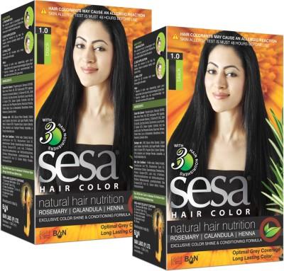 SESA Ayurvedic Herbal Hair Color - Black (Pack of 2) - A Natural Hair Nutrition Hair Color(1.0)
