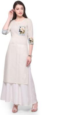 Trend Factory Women Floral Print Straight Kurta(White)