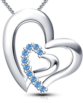fashion9mart Fashion 9 18k Rhodium plated antique blue heart shape Pendant for girls Silver Crystal Alloy Pendant
