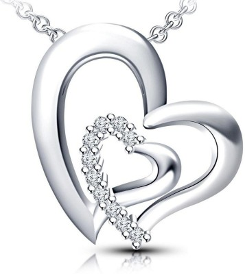 kirati fancy Double Heart shape Pendant with chain 925 Sterling Silver round cut CZ for women