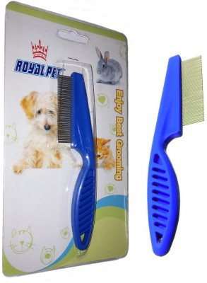 ROYAL PET Dog/Cat Comb Blue | Dog, Cat Hair Flea Comb Grooming Cleaning Puppy | Rake Plastic Handle Stainless Needle Pin Cleaning Tool | Basic Comb for  Dog, Cat, Rabbit