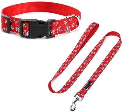 Pets Empire Dog Leash Collar Set Lead Adjustable Pet Collar Strong Nylon Dog Handle Leash Durable Safe Pets Rope/Strap For Walking Training Running /Christmas Gifts Size Small For Puppy & Cat -1 Piece Color and Pattern May Vary 120 cm Dog Strap Leash(Red)