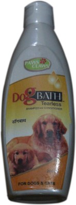 PAWS&CLAWS DOGBATH TEARLESS SHAMPOO WITH CONDITIONAR Allergy Relief, Anti-dandruff, Anti-fungal, Anti-itching, Anti-microbial, Anti-parasitic, Conditioning, Flea and Tick, Hypoallergenic, Whitening and Color Enhancing GLYCEROL AND AQUOUS BASE Dog Shampoo(200 ml)  available at flipkart for Rs.150