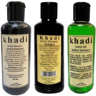 Khadi Herbal Combo Shampoo: Shikakai, Neem Sat & Amla & Bhringraj Shampoo (Pack of 3) 630 ML(630 ml) Flipkart