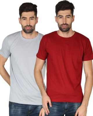 NCY Solid Men Round Neck Red, Grey T-Shirt(Pack of 2)