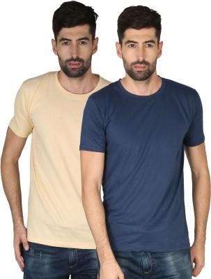 NCY Solid Men Round Neck Dark Blue, Beige T-Shirt(Pack of 2)