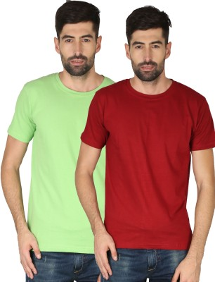 NCY Solid Men Round Neck Red, Green T-Shirt(Pack of 2)