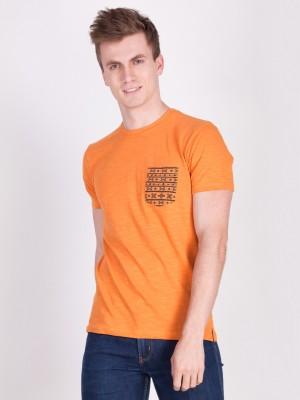FORCE NXT Solid Men Round Neck Orange T-Shirt