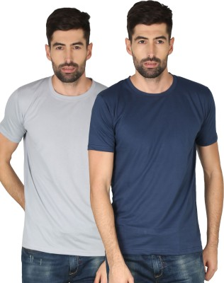 NCY Solid Men Round Neck Dark Blue, Grey T-Shirt(Pack of 2)
