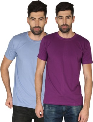 NCY Solid Men Round Neck Blue, Purple T-Shirt(Pack of 2)