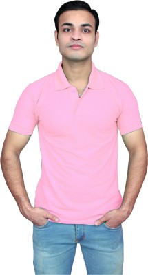 ATXP Solid Men Polo Neck Pink T-Shirt
