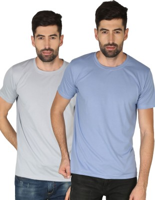 NCY Solid Men Round Neck Blue, Grey T-Shirt(Pack of 2)