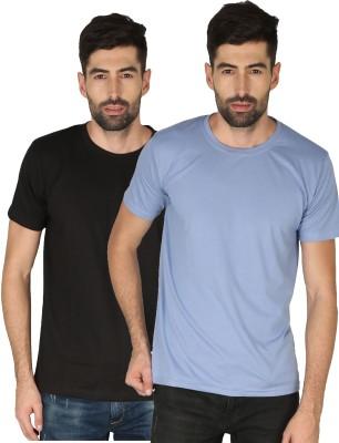 NCY Solid Men Round Neck Blue, Black T-Shirt(Pack of 2)