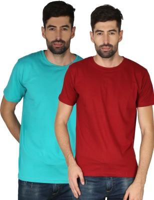 NCY Solid Men Round Neck Red, Dark Green T-Shirt(Pack of 2)