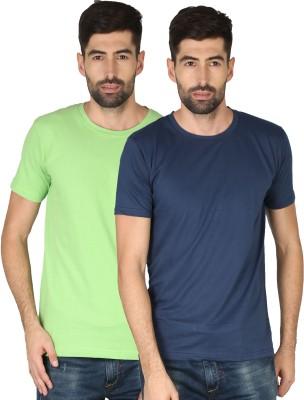 NCY Solid Men Round Neck Dark Blue, Green T-Shirt(Pack of 2)