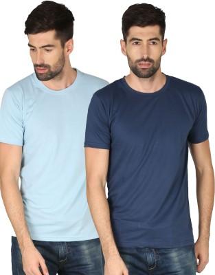 NCY Solid Men Round Neck Dark Blue, Light Blue T-Shirt(Pack of 2)
