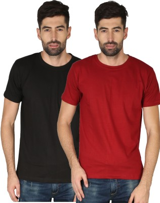 NCY Solid Men Round Neck Red, Black T-Shirt(Pack of 2)