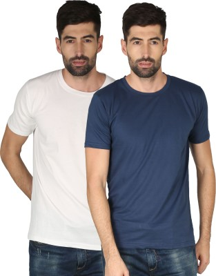 NCY Solid Men Round Neck Dark Blue, White T-Shirt(Pack of 2)