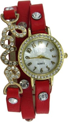 True Colors New Red Stylish Braclet Belt With Stone With 1 YEAR WARRANTY Analog Watch  - For Girls