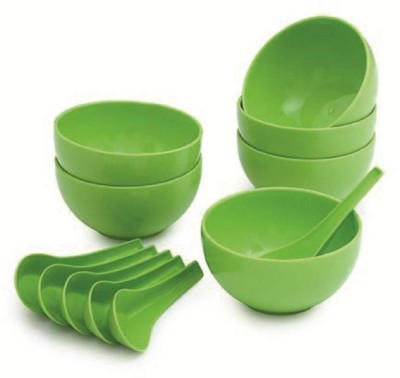 Flynn Round Big Soup Bowl with Spoon Microwave Safe ( 6 Bowl & 6 Spoon ) Plastic Disposable Bowl Set(Green, Pack of 12)  available at flipkart for Rs.199