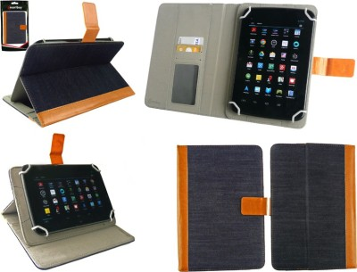 Emartbuy Wallet Case Cover for Samsung Galaxy Tab 4 8.0 T330 / T331 / T335(Black Plain, Artificial Leather)