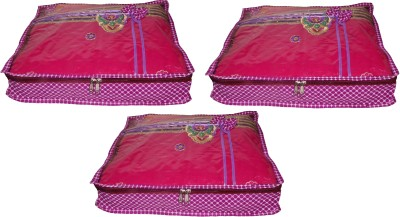 ABHINIDI High Quality Pack of 3 Polka dot 2 inch Designer Height Saree Cover Gift Organizer bag vanity pouch Keep saree/Suit/Travelling Pouch(Pink)  available at flipkart for Rs.397