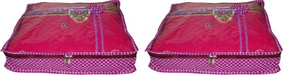 ABHINIDI High Quality Pack of 2 Polka dot 2 inch Designer Height Saree Cover Gift Organizer bag vanity pouch Keep saree/Suit/Travelling Pouch(Pink)  available at flipkart for Rs.344