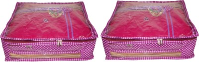 ABHINIDI High Quality Pack of 3 Polka dot 6 inch Designer Height Saree Cover Gift Organizer bag vanity pouch Keep saree/Suit/Travelling Pouch(Pink)  available at flipkart for Rs.298
