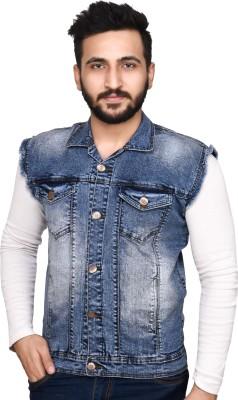 Ico Blue Star Half Sleeve Self Design Men's Denim Jacket