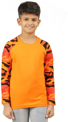 Clifton Boys Military Camouflage Cotton T Shirt(Orange, Pack of 1)