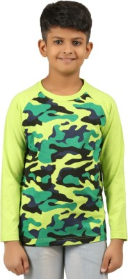 Clifton Boys Military Camouflage Cotton T Shirt(Green, Pack of 1)