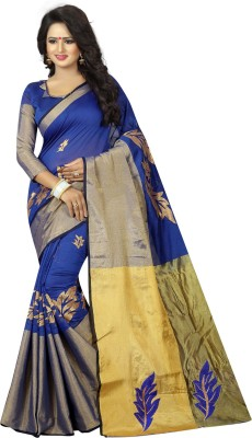 7858078d0a View 3Buddy Fashion Embroidered, Embellished, Self Design Maheshwari Cotton  Silk Saree(Blue)
